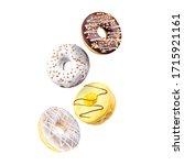 set of flying glazed donuts... | Shutterstock . vector #1715921161