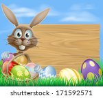 easter sign with easter bunny... | Shutterstock . vector #171592571