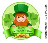 Cheerful Leprechaun With  Mone...