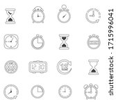 time and clock icon set in line ...   Shutterstock .eps vector #1715996041