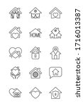 padlock and stay home icon set...   Shutterstock .eps vector #1716013387