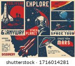 vintage universe posters... | Shutterstock .eps vector #1716014281