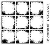 set of nine black floral frames ... | Shutterstock .eps vector #1716037234