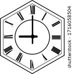 hexagon clock vector design 9 o'...