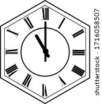 hexagon clock vector design 11...