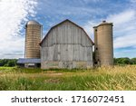 Old White Barn With Two...
