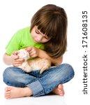 Stock photo little girl stroking kitten isolated on white background 171608135