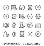 time clock line icon isolated...