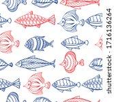 seamless pattern of ornamental...   Shutterstock .eps vector #1716136264