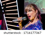 Small photo of London, England, UK - January 2, 2020: Waxwork statues of Taylor Swift, Madame Tussauds waxwork museum, one of the popular touristic attractions