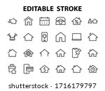 simple set of line vector home... | Shutterstock .eps vector #1716179797