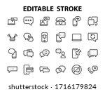 simple set of message line... | Shutterstock .eps vector #1716179824