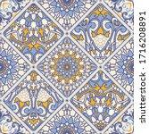 azulejos tiles patchwork. hand... | Shutterstock .eps vector #1716208891