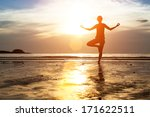 silhouette of woman practicing... | Shutterstock . vector #171622511