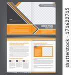Vector empty bifold brochure template design with orange and gray elements - stock vector