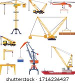 construction and cargo cranes...   Shutterstock .eps vector #1716236437