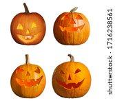 Set Of Halloween Pumpkin Head...