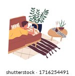 happy boy lying on sofa and... | Shutterstock .eps vector #1716254491