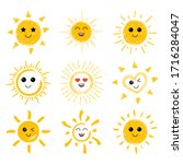 the sun is smiling. sun icons... | Shutterstock .eps vector #1716284047