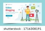 video blogger recording video...   Shutterstock .eps vector #1716308191