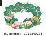 gardening people  spring  ... | Shutterstock .eps vector #1716340231