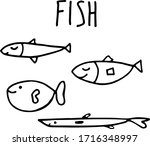 Hand Drawn Doodle Fish With...
