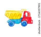 kids toy truck  colorful car.... | Shutterstock . vector #1716357901