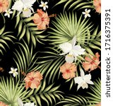 vector tropical pattern with...   Shutterstock .eps vector #1716375391