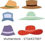 beach accessories  summer hats...   Shutterstock .eps vector #1716417007