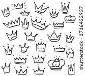 doodle crown set  hand drawn... | Shutterstock .eps vector #1716432937