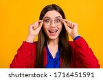 Small photo of Photo of attractive shocked business lady open mouth put on new eye specs nice one hundred per cent vision wear red luxury office blazer blue blouse suit isolated yellow color background