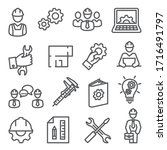 engineering line icons set on... | Shutterstock .eps vector #1716491797