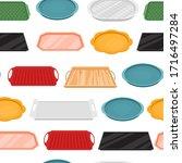cartoon color empty food tray... | Shutterstock .eps vector #1716497284