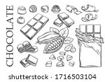 outline chocolate set icons.... | Shutterstock .eps vector #1716503104