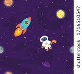 space vector seamless pattern.... | Shutterstock .eps vector #1716510547