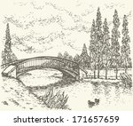Vector landscape. Sketch of a quiet corner of the park with a bridge over river and poplars along the road