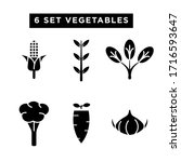 vegetable icon set glyph style...