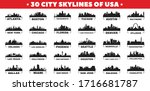 30 City Skyline Silhouettes Of...