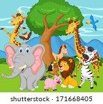 funny animal cartoon | Shutterstock .eps vector #171668405