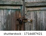 Old White And Blue Wooden Door...