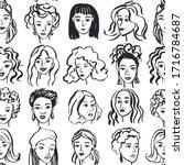 hand drawn face pattern. trendy ... | Shutterstock .eps vector #1716784687