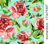 red roses seamless pattern | Shutterstock . vector #171679307