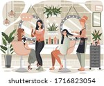 woman in beauty salon  man in... | Shutterstock .eps vector #1716823054