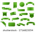 green ribbon and tags isolated... | Shutterstock . vector #1716823354