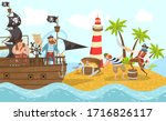 Sea Pirates On Piratical Ship ...