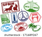 set of stylized grunge travel... | Shutterstock .eps vector #171689267