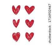 doodle hearts  hand drawn love... | Shutterstock .eps vector #1716932467