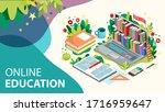 online learning concept. online ... | Shutterstock .eps vector #1716959647