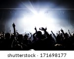 silhouettes of concert crowd in ... | Shutterstock . vector #171698177