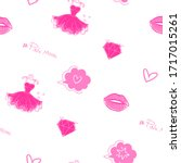 pink fashion repeat print.... | Shutterstock .eps vector #1717015261